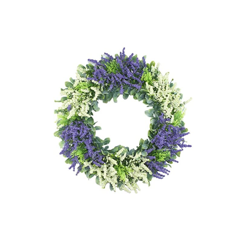 silk flower arrangements delicaft 16 inches artificial larvender new year's day front door wreath - lush and beautiful summer wreath,indoor/outdoor use (white)