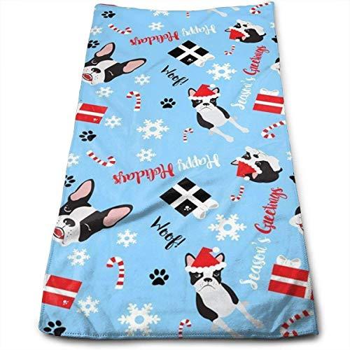 Faleader Boston Terrier Christmas Kitchen Towels - Dish Cloth - Machine Washable (Towel Terrier Kitchen)