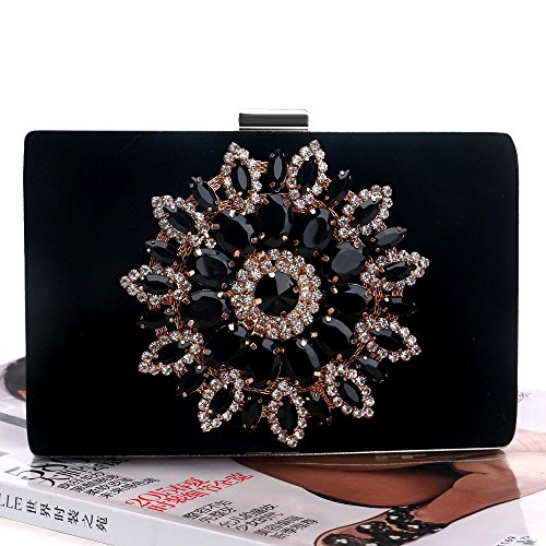 Bag Bags Black Evening with Satin Party for Handbag Wedding Clutch Evening Women Crystal Beading Event Rhinestone KYS wq5TIgFF