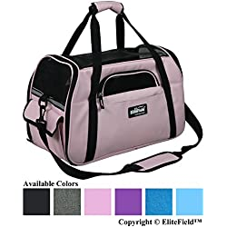 "EliteField Soft Sided Pet Carrier (3 Year Warranty, Airline Approved), Multiple Sizes and Colors Available (Large: 19"" L x 10"" W x 13"" H, Pink)"