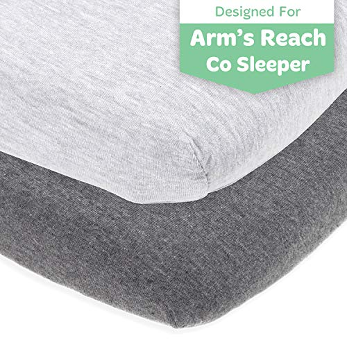 Cradle Sheets Fitted 18 x 36 -Compatible with Arms Reach Co Sleeper Clear Vue, Cambria, Mini Ezee Bassinets - Fits Without Bunching Mattress -Snuggly Soft Jersey Cotton -Heather Grey -2 Pack