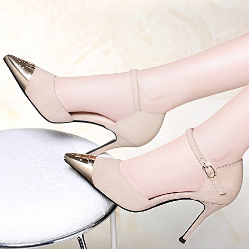 UK Talons Haute EU 4 Femme Night 37 Work Chaussures Mode Sexy 6 Party Noir 5 Party Beige 5cm Court HaHxqE5wT