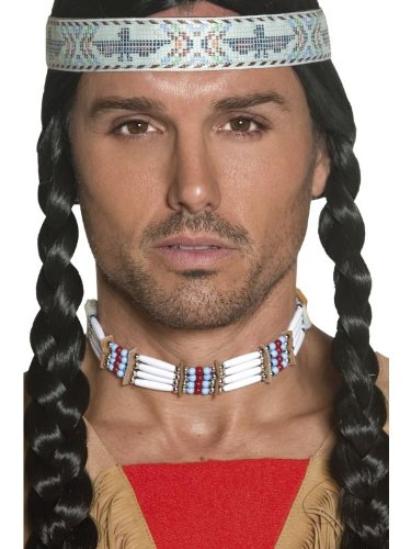 Smiffy's Adult Unisex Native American Indian Choker, Beaded, White, One Size, 33229