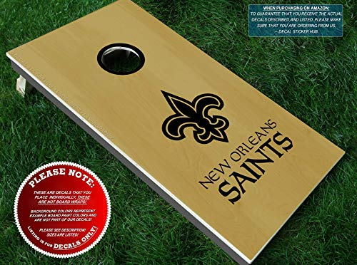 (Saints Cornhole Decals | HALF SET | Color Choice | Large Decals + Ring Sticker | DIY Cornhole Board Building & Decorating | Decal Sticker Hub)