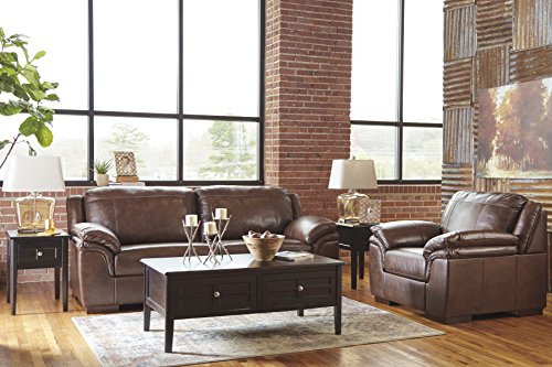 Islebrook Contemporary Leather Canyon Color Sofa And Chair