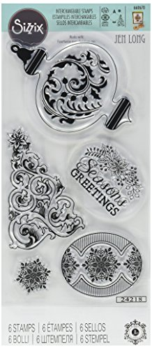 Bench Greeting Card - Sizzix 660670 Interchangeable Clear Stamps Christmas Greetings, Ornament & Tree
