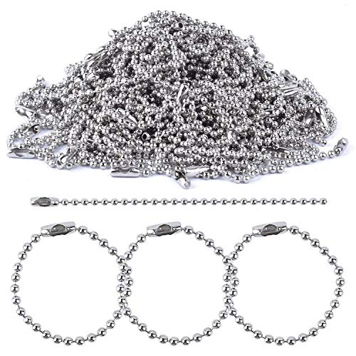 LOKIPA 50 Pieces 120mm Long 2.4mm Bead Diameter Nickel Plated Steeel Ball Chain Necklace Ball Chains Keychain Tag Key Rings