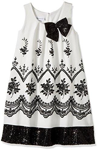 Girls Fall Line (Bonnie Jean Big Girls' Sleeveless a-Line Trapeze Party Dress, Black/White, 8)