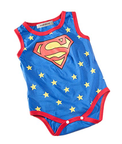 StylesILove Super Hero Print Baby Boy Jumpsuit (3-6 Months, Blue Superman)