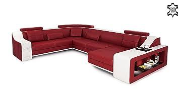 Ledercouch Xxl Wohnlandschaft Leder Rot Weiss Sofa Couch U Form