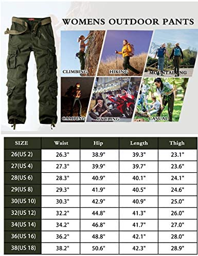 XNMAYA Women's Cargo Pants Camping Hiking Pants Cotton Work Casual Loose Fit Trousers with Multi Pockets