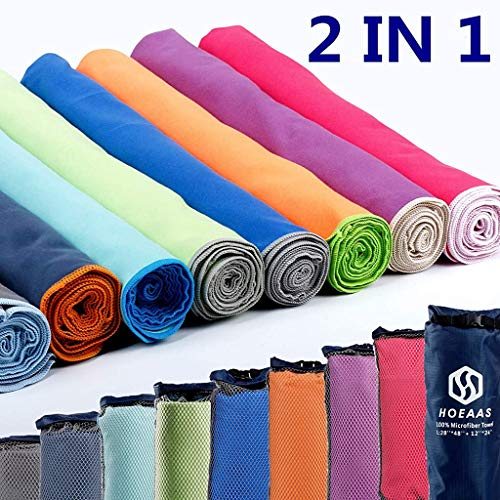 HOEAAS Microfiber Sport Travel Towel Set-(Size:S, M, L, XL, XXL)- Quick Dry, Super Absorbent, Ultra Compact Towel-Fit for Beach Yoga Golf Gym Camping Backpacking Hiking +Hand Towel & Carry Pouch