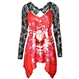 WOCACHI Final Clear Out Womens Christmas Lace Blouses Hollow Out Pullover Santa Claus Tunic Tops Winter Bottoming Shirts Xmas Warm Sweaters (Red, X-Large)