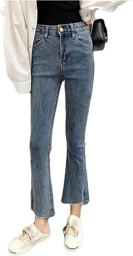 [エージョン]デニムパンツ ブーツカット 九分丈 ダメージ ブラックジーンズ ストレッチ ハイウェスト ジーンズ 裾フレア スキニー フリンジ 着やせ ファッション 春秋冬 クラッシュ