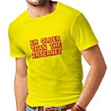 T shirts for men I am older than the internet funny birthday gift ideas (Large Yellow Red)