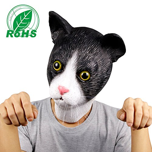 Molezu Novelty Halloween Docile Cat Mask Costume Party Latex Cat Animal Cute Mask Animal Head Mask for $<!--$11.99-->