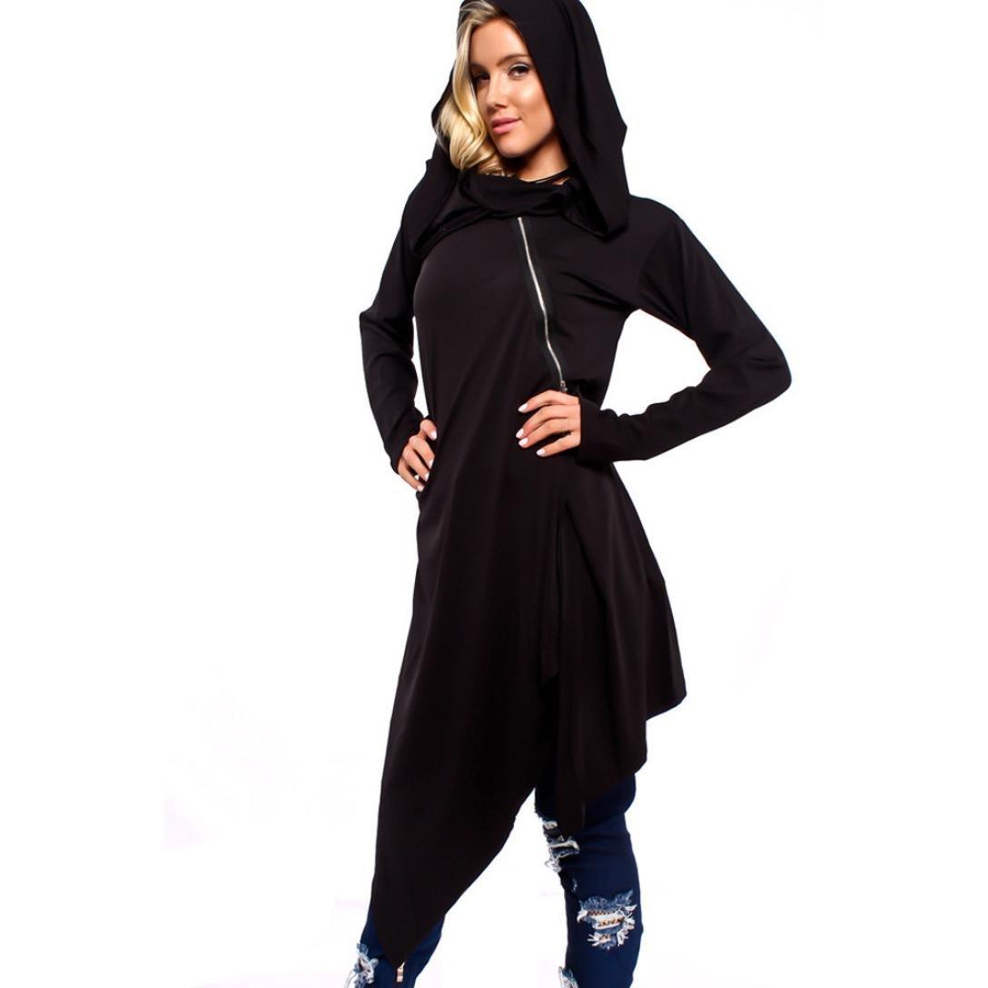 FANOUD Women Long Sleeve Zip Loose Cover Up Overzise Shirt Jacket Hoodies Blouse (L)