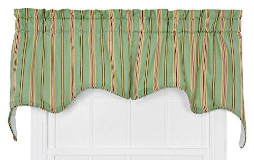 Ellis Curtain Warwick Medium Scale Stripe 70 by 28-Inch Empress Lined Swag Valance, Green, 2-Piece
