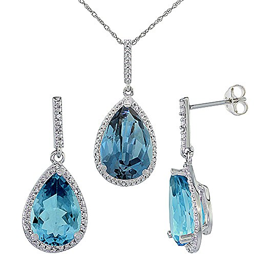 10K White Gold Diamond Natural London Blue Topaz Earrings Necklace Set Pear Shaped 12x8mm&15x10mm,18 inch (Shaped Pear Topaz)