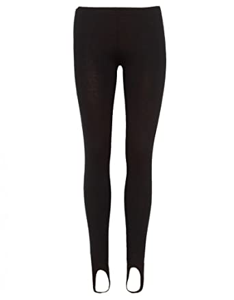 9ffbe23744855a Womens Black Jersey Leggings w Foot Straps: Amazon.co.uk: Clothing