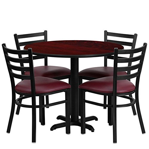 Dyersburg 5pcs Table Set Round 36'' Mahogany Laminate X-Base, Burgundy Chair by iHome Studio