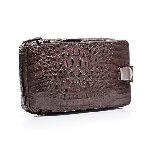 ZRO Men's Portable Crocodile Leather Short Wallets Large Capacity Clutch COFFEE by ZRO