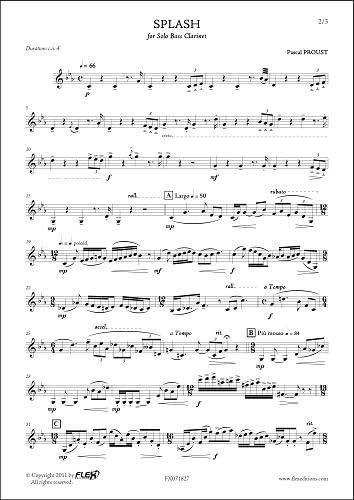 PARTITURA CLASICA - Splash - P. PROUST - Solo Bass Clarinet ...