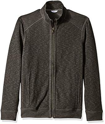 Calvin Klein Men's Jaquard Fabric Blocked Long Sleeve Full Zip Knit