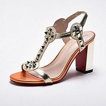 LGK FA Sommer Damen Sandalen Sommer Metall Stift Lady Elegante hochhackigen  Sandale Absatz Modische Ferse Sandale... - zahnfee-yvonne-karakus.de 7aae6fcc15