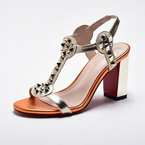 Estate moda donna sandali comodi tacchi alti,40 nero 8CM tacchi