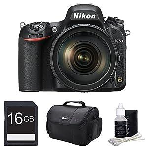 Nikon D750 DSLR 24.3MP Digital Camera w/ AF-S NIKKOR 24-120mm Lens 16GB Bundle - Includes Camera w/ AF-S NIKKOR 24-120mm f/4G ED VR Lens, 16GB SDHC High Speed Memory Card, Gadget Bag and Cleaning Kit