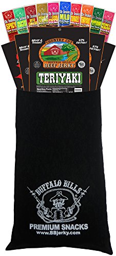 Buffalo Bills 15-Piece Beef Jerky & Beef Stick Sampler Black Velour Wine Gift Bag (15 mixed packs) (Best Of Buffalo Gift Box)