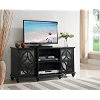 Kings Brand Furniture TV Stand Entertainment Center, Black Finish Wood
