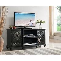 Kings Brand Furniture TV Stand Entertainment Center, Black Finish Wood