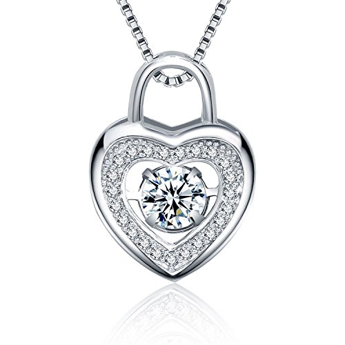 22&Co. 925 Heart-Lock Pendant Necklace with Sterling Silver Chain and Dancing Zirconia (925 Silver Lock)