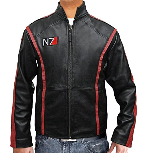 BlingSoul Mass Effect N7 Real Leather Jacket Collection by Black Halloween Costume Jacket (L)
