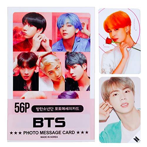BTS Photo 56pcs Bangtan Boys RM V Tae TaeHyung Suga Jungkook Jung Kook J-Hope Jimin Jin Photo Message Card Photocard 56pcs Set New Version + KIWICK Store Gift for BTS Army ()