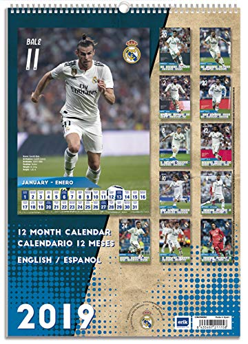 "Real Madrid Monthly Wall Calendar 2019 (January 2019 - December 2019) - Academic Year Hanging Wall Organizer - A3 (12"" x 16.5"")"