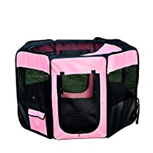 """PawHut 46"""" Soft Folding Pet Playpen Puppy Dog Pen Portable Exercise Crate with Carry Bag Pink"""