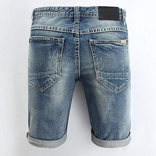 Los Pantalones Hombres Hole Pantalones Hombres Blau Mezclilla Ripped De De Short Ige Slim R Dobladillo Trousers Pantalones Vaqueros Regla Mitad Cortos Fit Nge Hombres Casual 4Tnqaw