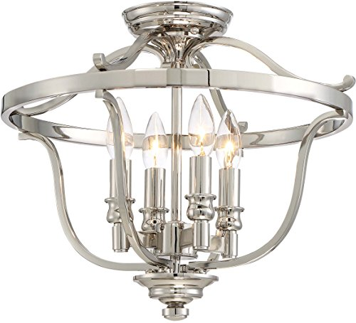 Minka Lavery Semi Flush Mount Ceiling Light 3296-613 Audrey's Point Lighting Fixture, 4-Light 240 Watts, Polished Nickel