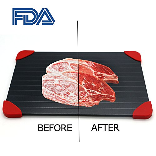 Fast Defrosting Tray, Yubobo Rapid Thaw Defrosting Tray Meat Magical Plate,The Natural And Fast Way To Thawing Frozen Food, Without Electricity, Microwave Or Other Tools (Red Legs)