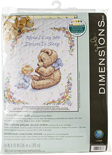 Dimensions Stamped Cross Stitch Sweet Prayer DIY Baby Quilt Kit, 34'' x 43''