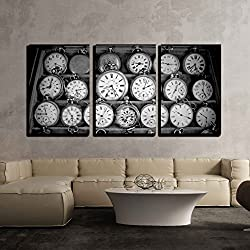 wall26 - 3 Piece Canvas Wall Art - Vintage Watches - Modern Home Decor Stretched and Framed Ready to Hang - 16x24x3 Panels