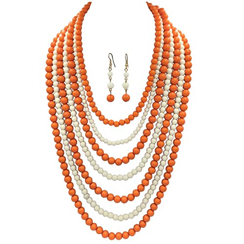 Gypsy Jewels 7 Row Long Layered Imitation Pearl Bead Statement Necklace Earrings Set (Orange & White)