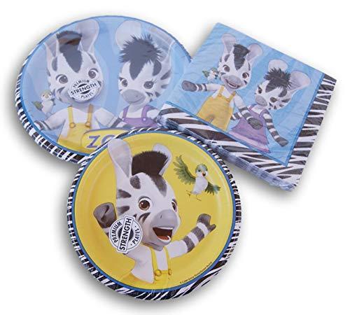 Zou Zebra Themed Party Set - Dinner Plates, Dinner Napkins, Cake Plates