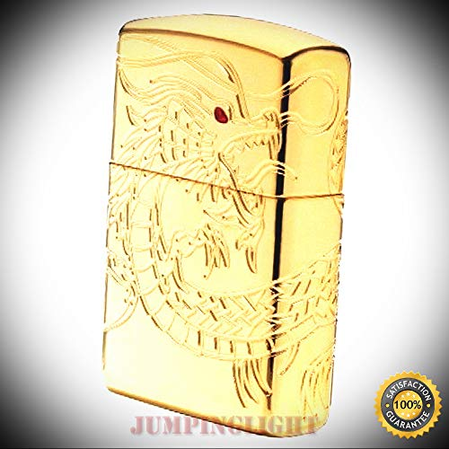 (29265 High Polish Gold Plate Lighter w and Inlay Asian Dragon - Premium Lighter Fluid (Comes Unfilled) - Made in)