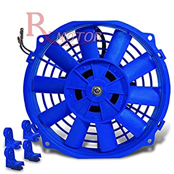10 Inch High Performance Blue Electric Radiator Cooling Fan Kit Pack of 2