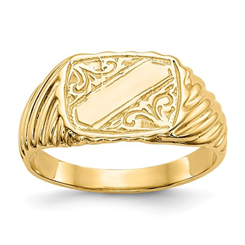 14k Yellow Gold Baby Rectangle Signet Stripes Band Ring Size 2.50 Fine Jewelry Gifts For Women For Her (Baby Rectangle Gold Yellow Ring)