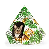 troppipets Cardboard Cat House Includes Washable Bed Cushion - Vibrantly Colored Sturdy Corrugated Cardboard Fits All Cat Sizes and Small Dogs to 25 lbs